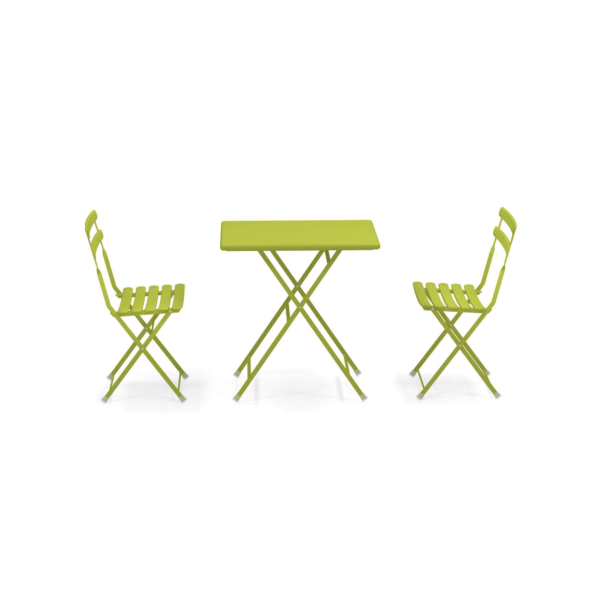 Arc En Ciel Tavolo Pieghevole.Garden Set 2 Folding Chairs 1 Folding Table Outside In Steel